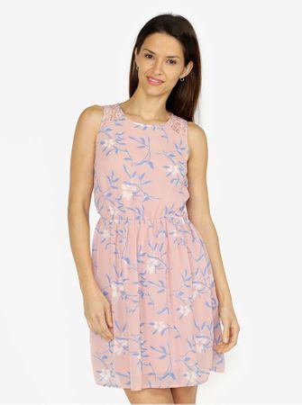 Vero Moda starorůžové květované šaty s krajkovými detaily Shea XL