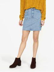 MISSGUIDED modrá džínová sukně s aplikací ve tvaru hvězdy
