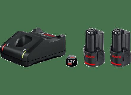 BOSCH Professional početni komplet: 2 x litij-ionska baterija 12V + brzi punjač + torba (0615990L0W)