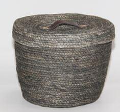 Kaemingk Kulatý koš s víkem, cca 32x27cm, šedý