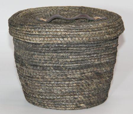 Kaemingk Okrągły kosz z pokrywką, ok. 27x22cm, szary