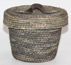 Kaemingk Okrúhly košík s vekom, cca 22x17cm, sivý