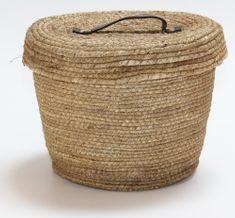 Kaemingk Okrúhly košík s vekom, cca 27x22cm, prírodný