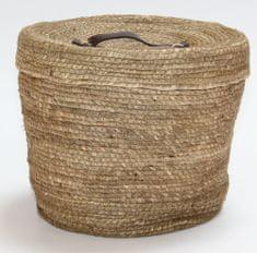 Kaemingk Okrúhly košík s vekom, cca 32x27cm, prírodný