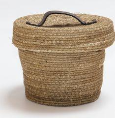 Kaemingk Okrúhly košík s vekom, cca 22x17cm, prírodný
