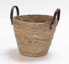 Kaemingk Okrúhly košík s držadlami, cca 28x20cm, prírodná