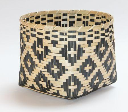 Kaemingk Bambusz kosár, 34x25cm, természetes / fekete