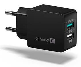 Connect IT Fast Charge nabíjecí adaptér 2× USB-A, 3,4 A, černý CWC-2015-BK