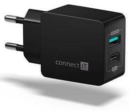 Connect IT Fast Charge nabíjecí adaptér 1× USB-A + 1× USB-C, 3,4 A, černý CWC-2030-BK