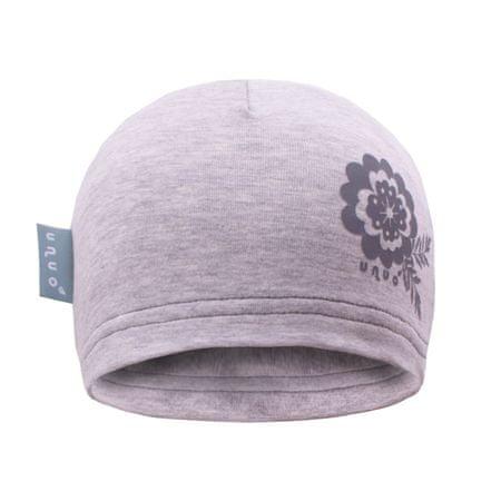 Unuo dívčí čepice s květinou 53 - 58 šedá