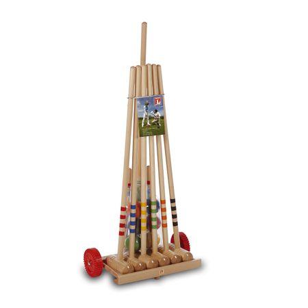 Lucio Londero kroket pro 6 hráčů na dřevěném vozíku