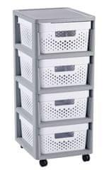 CURVER Rozkladacie šuplíky Infinity 4x 11 L biele s bodkami