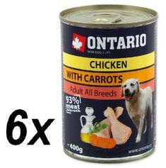 Ontario mokra karma dla psa Kurczak, marchewka i olej z łososia - 6 x 400 g.