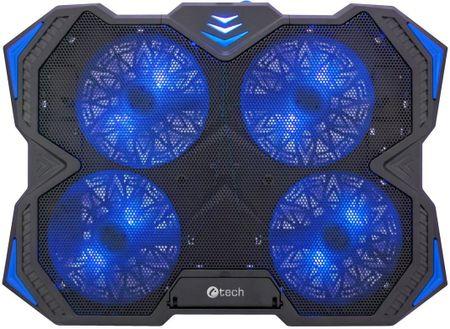 "C-Tech Chladiaca podložka C-TECH Zefyros (GCP-01B), casual gaming, 17,3"", modré podsvietenie, regulácia otáčok"