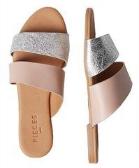 Pieces Dámské pantofle Candela Leather Sandal Nostalgia Rose