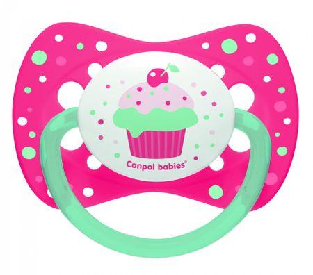Canpol babies Cumlík silikónový symetrický 18m+ CUPCAKE ružový