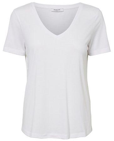 Pieces Koszulka damska Lucy Ss V-neck Top Noos Bright White (rozmiar L)