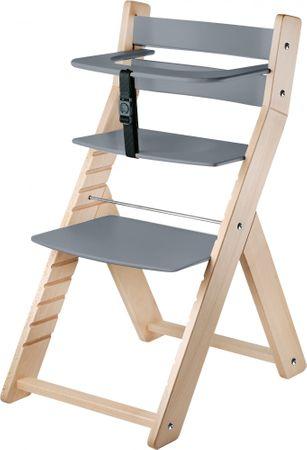 Wood Partner Dětská rostoucí židle LUCA natur/šedá