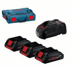 BOSCH Professional komplet 3x ProCORE18V 4,0Ah aku baterija + punjač + kovčeg (0615990L1R)