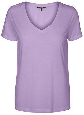 Vero Moda Koszulka damska Spicy V-neck Ss Top Color Lavendula (rozmiar XS)