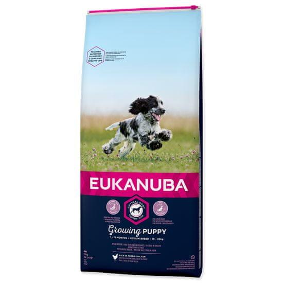 Eukanuba Puppy Medium 15 kg + dárek ZDARMA