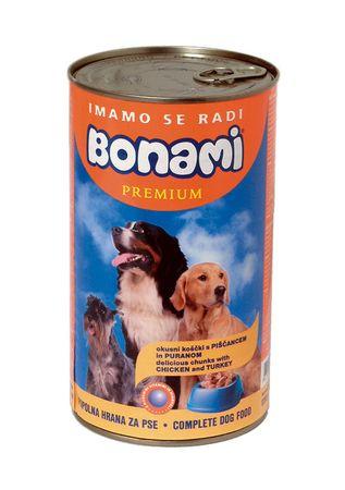 Bonami mokra hrana za pse, piščanec in puran, 1230 g