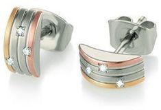 Boccia Titanium Tricolor titán fülbevaló gyémántokkal díszítve 05006-03