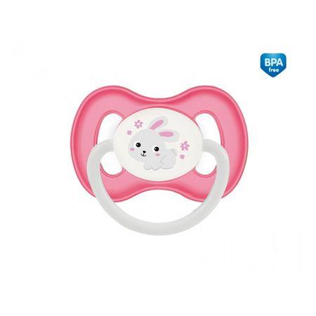 Canpol babies Dudlík silikonový symetrický 6-18m BUNNY & COMPANY růžový