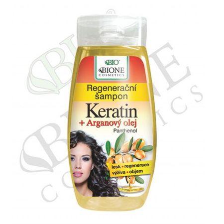 Bione Cosmetics Regenerujący szampon Keratin + Arganový olej z pantenolem 260 ml