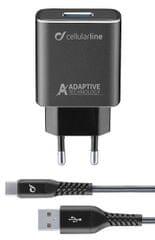 CellularLine Set USB nabíječky a USB-C kabelu Tetra Force 15 W, adaptivní nabíjení, černá TETRACHSMKIT15WTYC