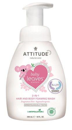Attitude Baby leaves gyerek testápoló és sampon (2 az 1-ben) illatmentes 473 ml