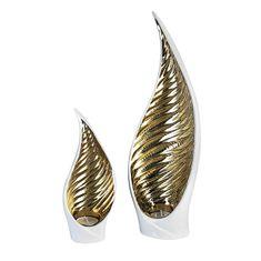 Papillon Čajový svietnik keramický Sagrada, 24 cm, biela/zlatá