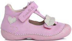 D-D-step dekliški usnjeni sandali z motivom srčka