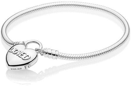 Pandora Srebro bransoletka z z sercem 597806 (długość 17 cm) srebro 925/1000