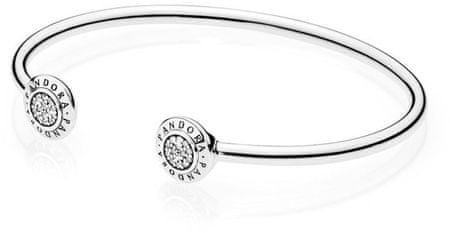 Pandora Masivna odprta zapestnica iz srebra 590528CZ (Dolžina 17,5 cm) srebro 925/1000