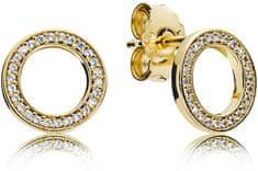 Pandora Aranyozott ezüst fülbevaló strasszokkal ezüst 925/1000