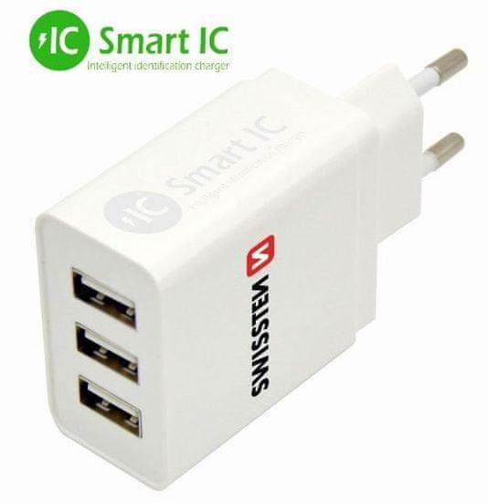 SWISSTEN Síťový adaptér SMART IC 3× USB 3,1 A Power, bílý 22013303