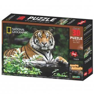 National Geographic PRIME 3D sestavljanka Sibirski tiger, 61 x 64 cm, 500 kosov