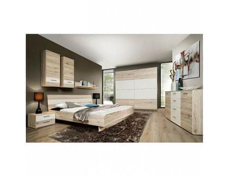 TEMPO KONDELA Ložnice VALERIA (skříň, postel,2 noční stolky), dub písková/bílá