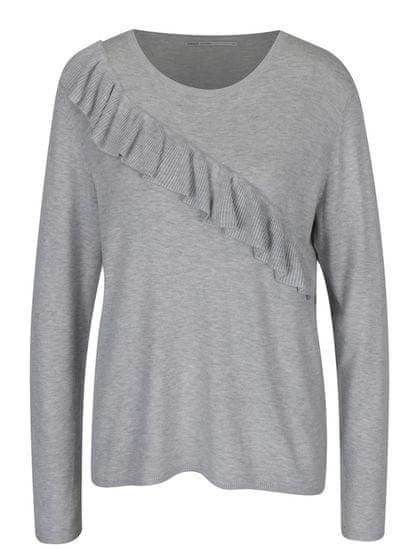 ONLY světle šedý žíhaný svetr s volánem Mila L