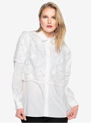 French Connection bílá krajková košile s dlouhým rukávem Southside