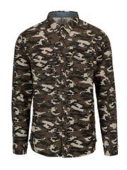 Blend khaki slim fit košile s maskáčovým vzorem