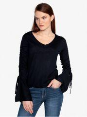 Vero Moda tmavě modrý lehký svetr s řasením na rukávech Adriana