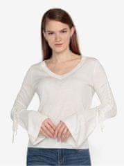 Vero Moda krémový lehký svetr s řasením na rukávech Adriana