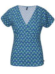 Tranquillo tyrkysové vzorované tričko s překládaným výstřihem Ammi