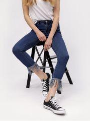 MISSGUIDED tmavě modré zkrácené skinny džíny