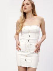 MISSGUIDED krémové džínové minišaty s odhalenými rameny