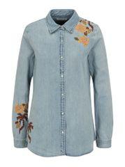 Scotch & Soda modrá džínová košile s výšivkou