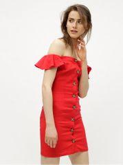 Miss Selfridge červené lněné šaty s odhalenými rameny Button