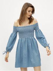 Miss Selfridge světle modré džínové šaty s odhalenými rameny